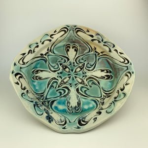 Plate Large Squared - Nouveau Pattern Copper Blue (pll22z-10)