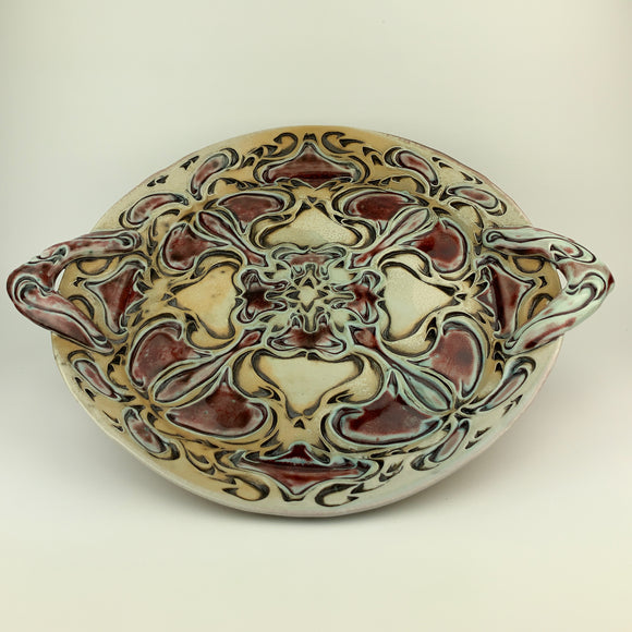 Serving Platter - Nouveau Pattern Copper Blue Blush (pllh22zb-10)