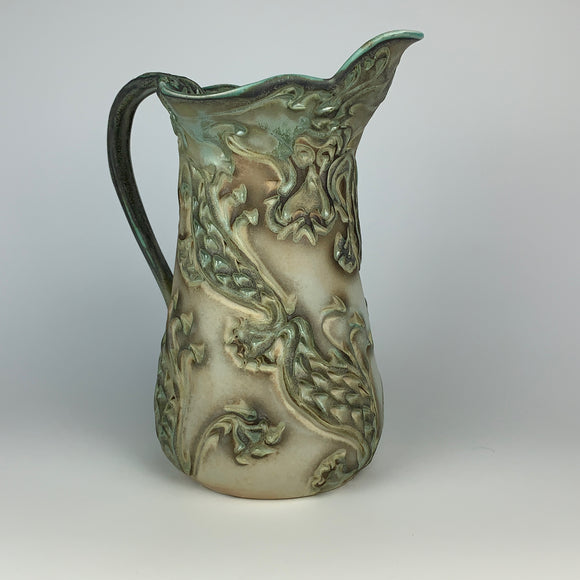 Pitcher Medium Tall - Dragon Pattern Copper Green (pmt35csp-1)