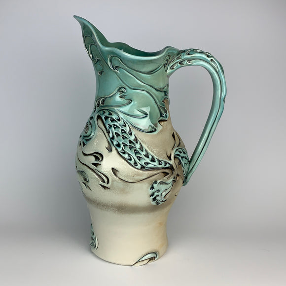 Pitcher Tall - Dragon Pattern Copper Blue (pt35z-1)