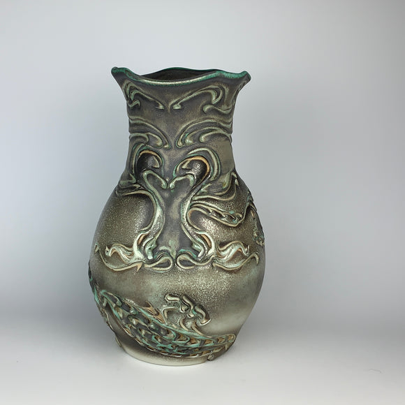 Vase Tall - Dragon Pattern Copper Green (vt35sp-3)
