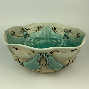Serving Bowl - Large - Nouveau Pattern Copper Blue (bl20z-10)