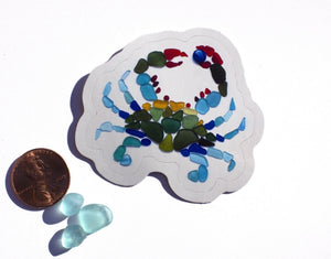 Sea Glass Blue Crab Sticker