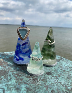 Sea Glass & Resin Ring Trees