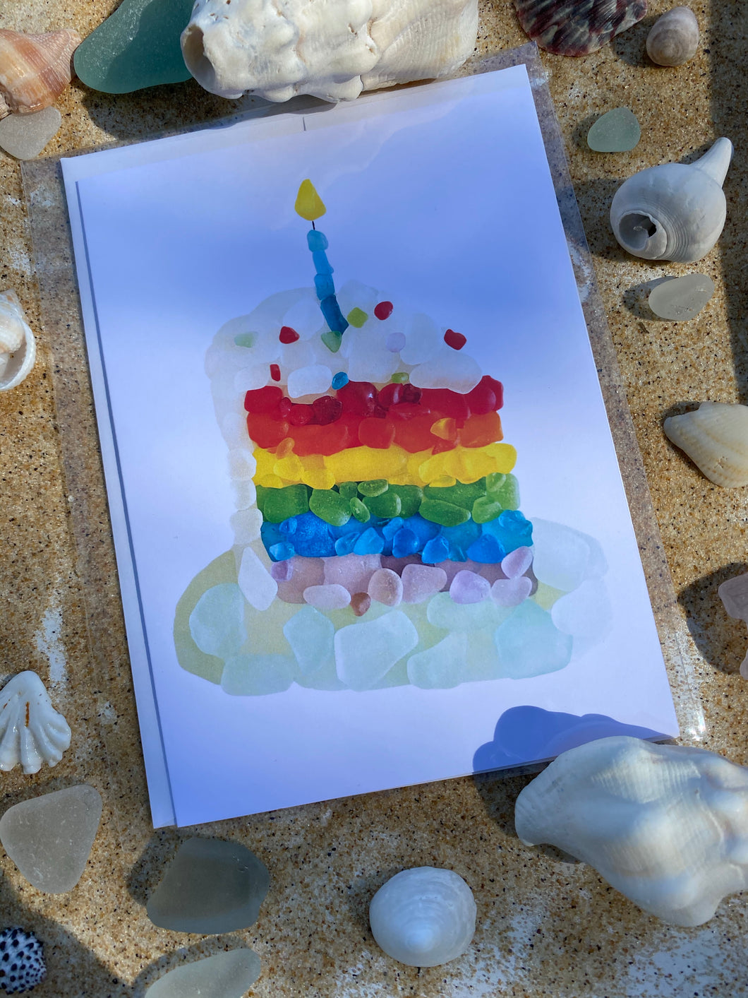 Birthday Cake Sea Glass Greeting Card