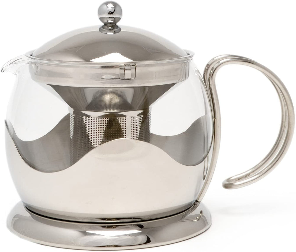 Le'Xpress Silver Glass Infuser Teapot - Herbert & Ward Ltd