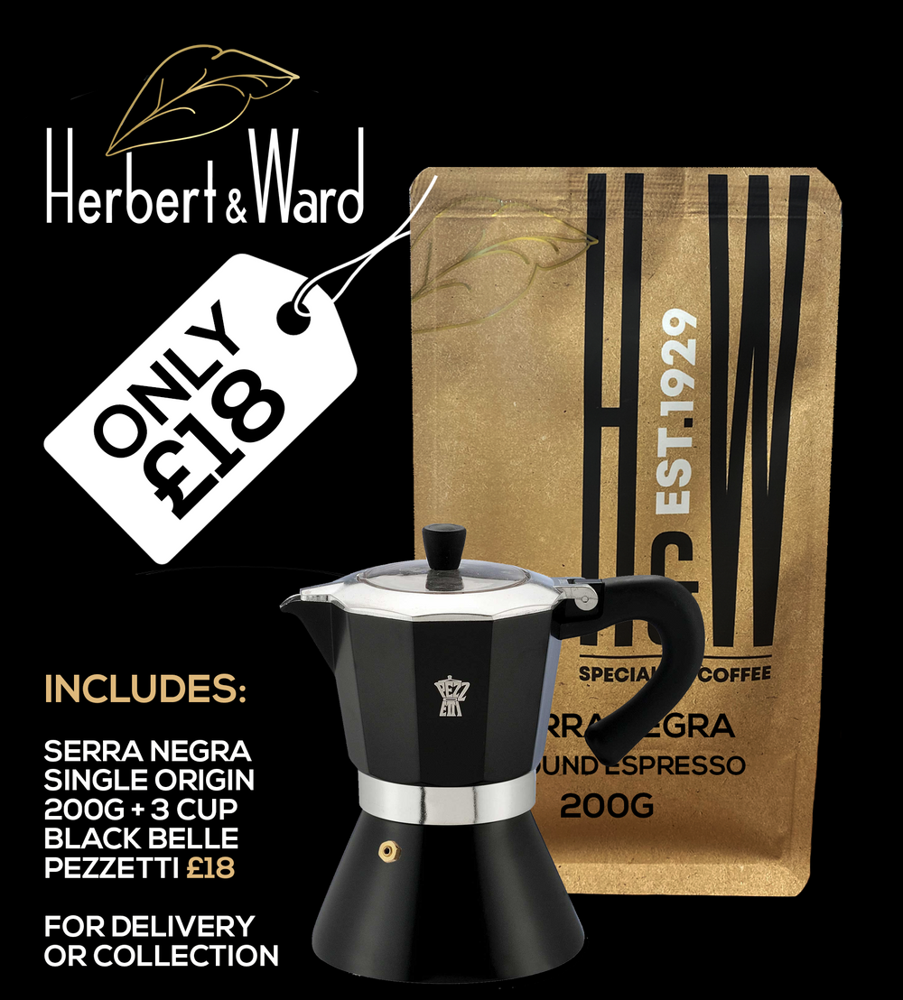 3 CUP BLACK BELLE PEZZETTI STOVE TOP + SERRA NEGRA SINGLE ORIGIN