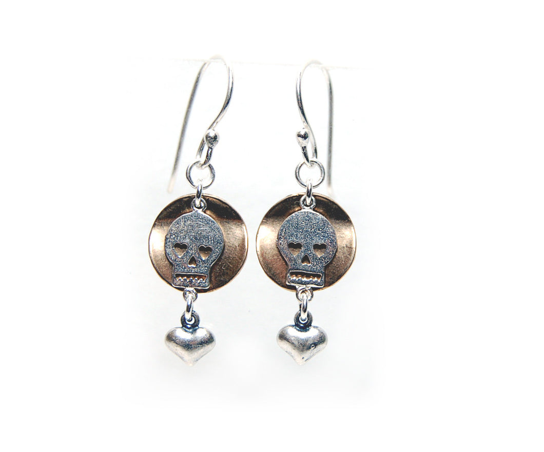 Skull & heart earrings