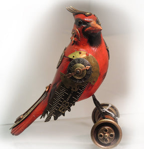 Mixed media Cardinal on wheels