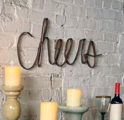 Cheers! Recycled metal sign