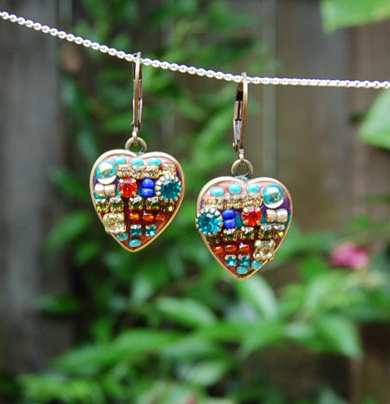 Confetti gold heart earrings