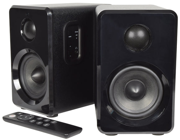 Active Bluetooth Bookshelf Speakers - Satin Black - eav-online.com