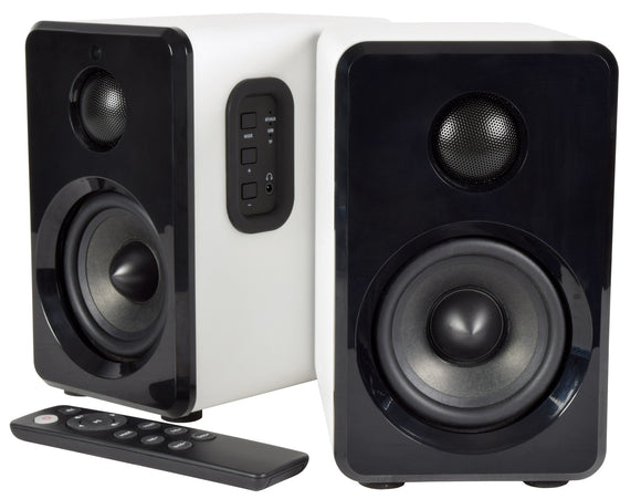 Active Bluetooth Bookshelf Speakers - Satin White - eav-online.com