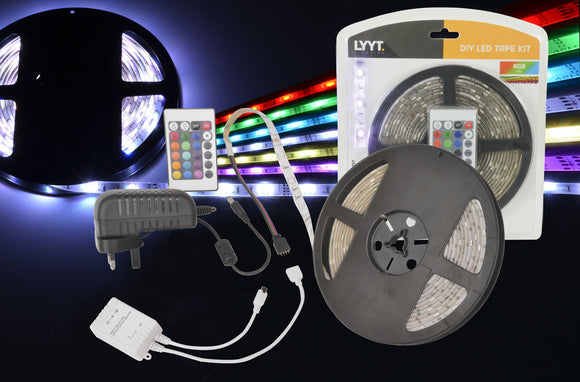 IP65 DIY LED Tape Kit - 5m Multi-colour RGB - eav-online.com