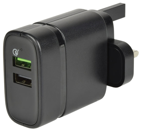 2 Port Quick-Charge 3.0 USB Mains Charger - eav-online.com