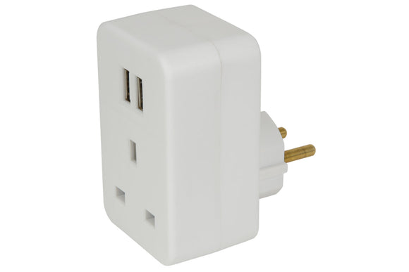 UK to Europe Travel Adaptor with Twin USB - eav-online.com