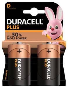 D Duracell Plus Power Alkaline Batteries - 2pk - eav-online.com