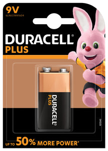 9v PP3 Duracell Plus Power Alkaline Battery - Single Pack - eav-online.com