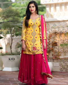 Yellow and Hot pink Embroidered lehenga