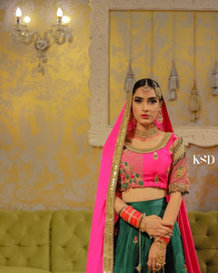 HOT PINK & BOTTLE GREEN LEHNGA