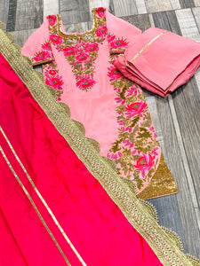 PINK HAND EMBROIDERED SUIT