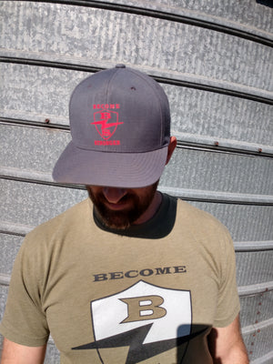 Gray and Red Flat Bill Hat
