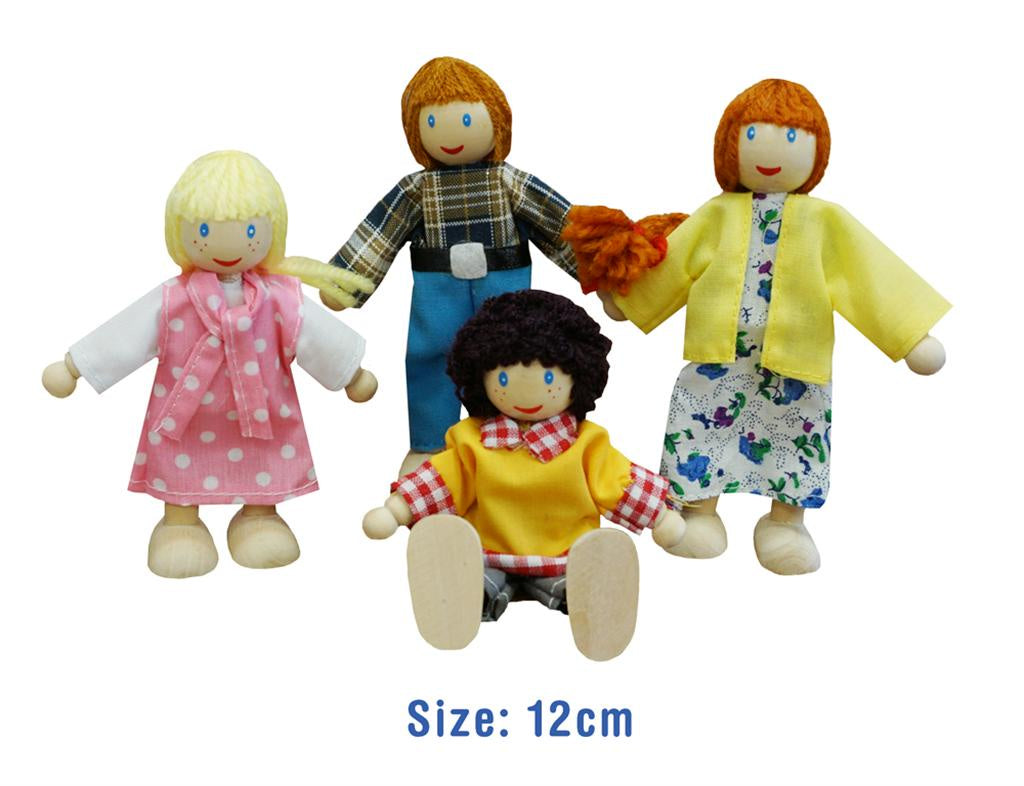 Fun Factory | 4 pc wooden doll family Caucasian