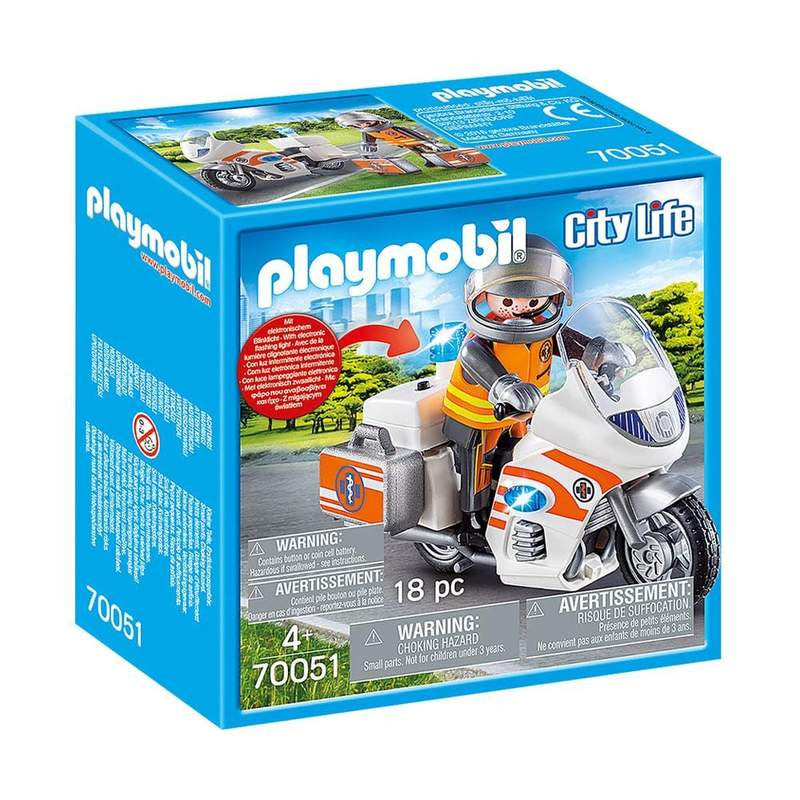 Playmobil | City Life | 70051 Emergency Motorbike w/Lights