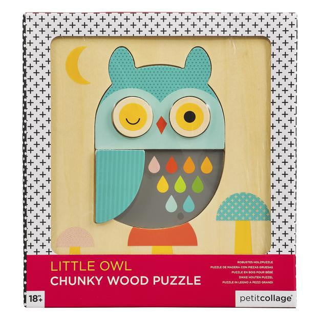 Petit Collage | Little Owl Chunky Wood Puzzle