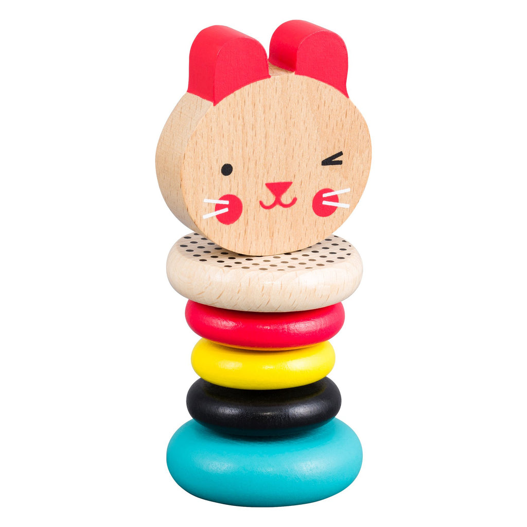 Petit Collage | Modern Bunny Wooden Rattle