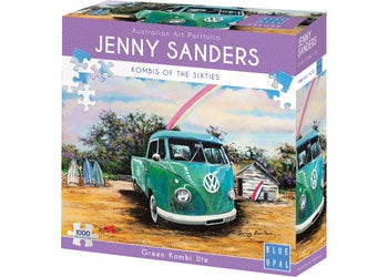 Blue Opal | 1000pc | Jenny Sanders | Kombi's of the Sixties | Green Kombi Ute