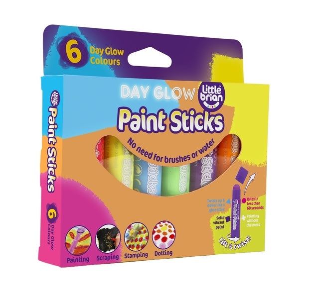 Little Brian | Paint Sticks | Day Glow 6 pack