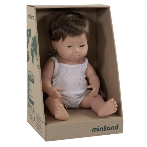 Miniland | 38cm | Caucasian Brunette | Down Syndrome | Boy | Boxed