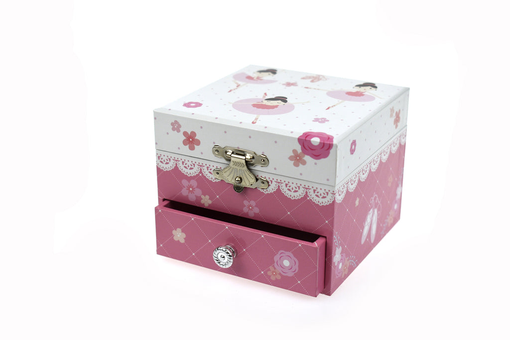 Ballerina Square Music Box | with Drawer