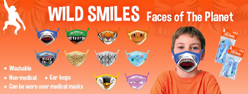 Wild Smiles | Kids Reusable Face Mask | Various Designs
