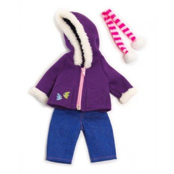 Miniland | 32cm | Purple Fleece and jeans winter set