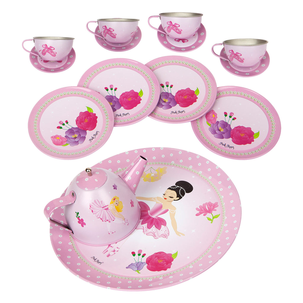 Pink Poppy |  Ballerina Bouquet tea set in carry case | TEA403P