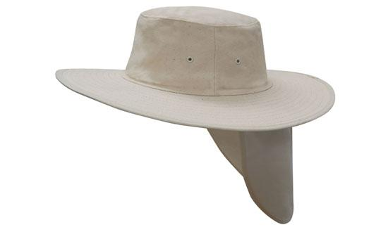 Wide Brim Hat with Neck Flap