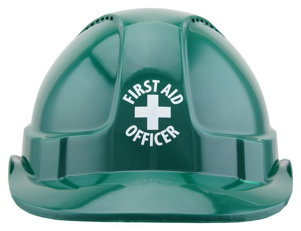 ASW PPE HammerHead Hard Hat with FIRST AID OFFICER print - Green (Vented) HM1ATGRFAO