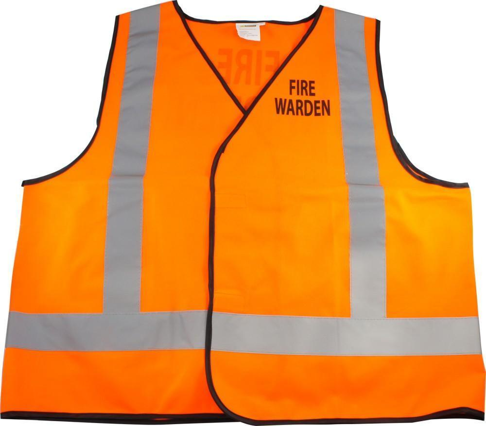 ASW Work Wear Orange Vest with FIRE WARDEN print - Day/Night V006OHFW