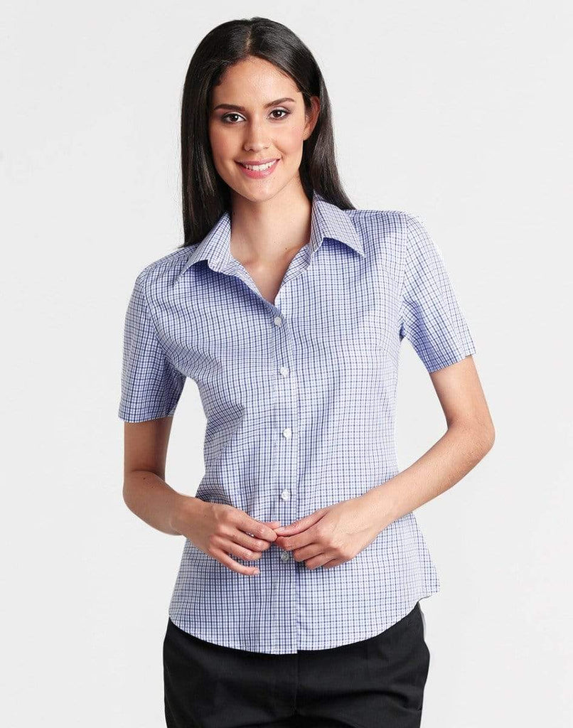 Benchmark Corporate Wear BENCHMARK Ladies' Two Tone Gingham Short Sleeve Shirt M8320S