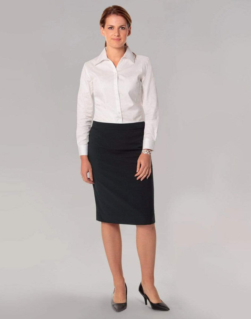 Benchmark Corporate Wear BENCHMARK Women's Poly/Viscose Stretch Stripe Mid Length Lined Pencil Skirt M9472