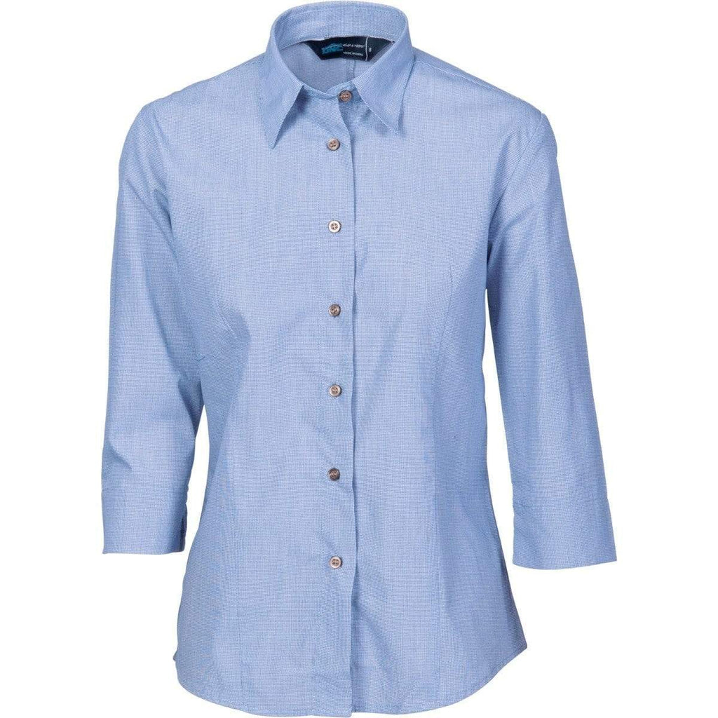 DNC Workwear Corporate Wear Blue / 26 DNC WORKWEAR Ladies Classic Mini (Check) Houndstooth 3/4 sleeve Business Shirt 4254