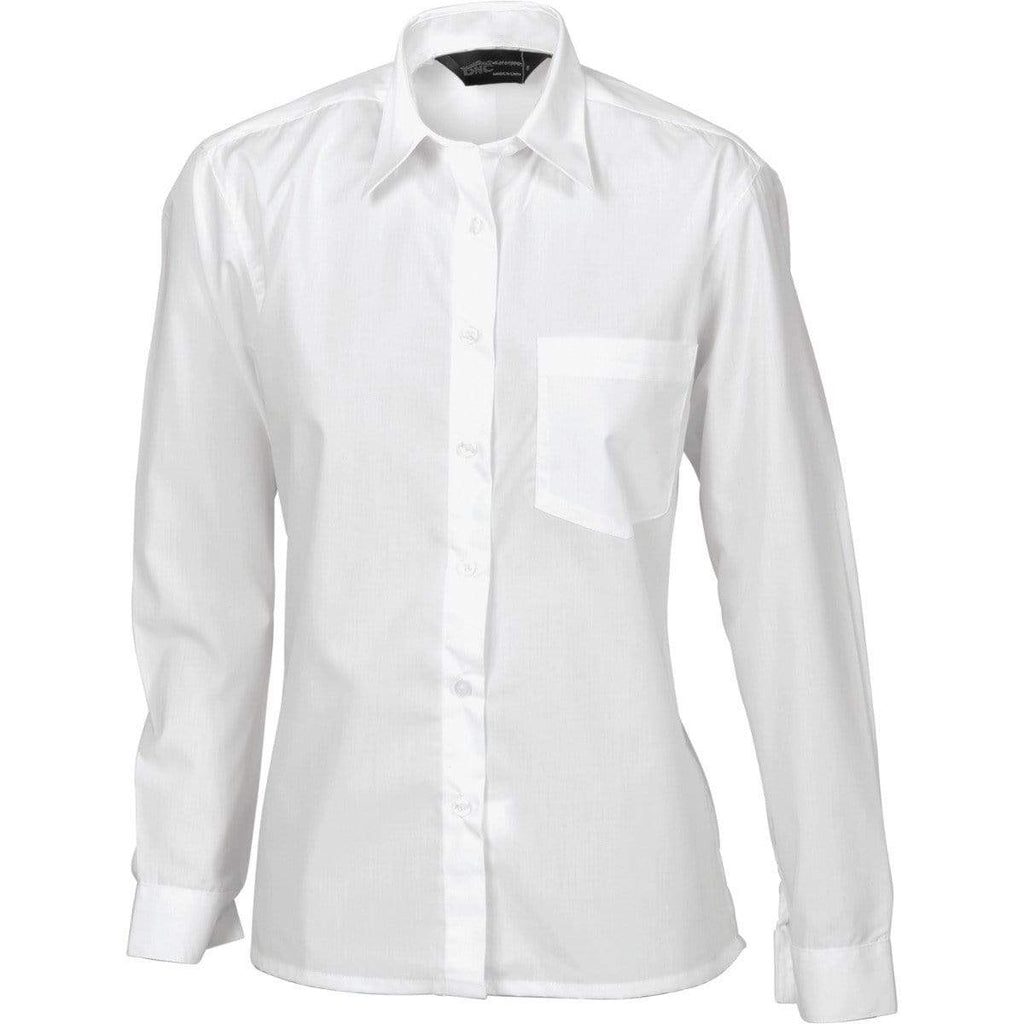 DNC Workwear Corporate Wear White / 6 DNC WORKWEAR Ladies Polyester Cotton Long Sleeve Poplin Shirt 4202