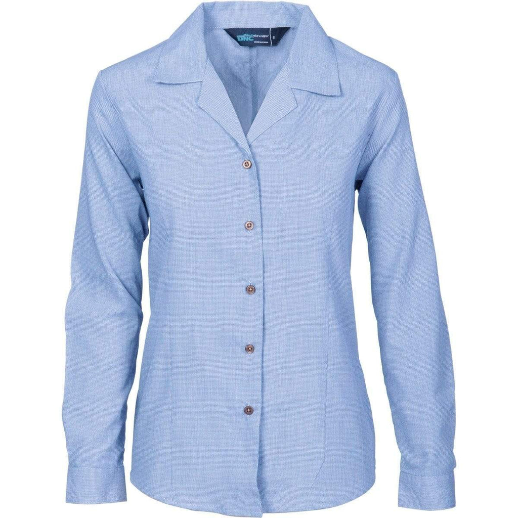 DNC Workwear Corporate Wear Blue / 6 DNC WORKWEAR Ladies Revere Collar Mini (Check) Houndstooth Long Sleeve Business Shirt 4256