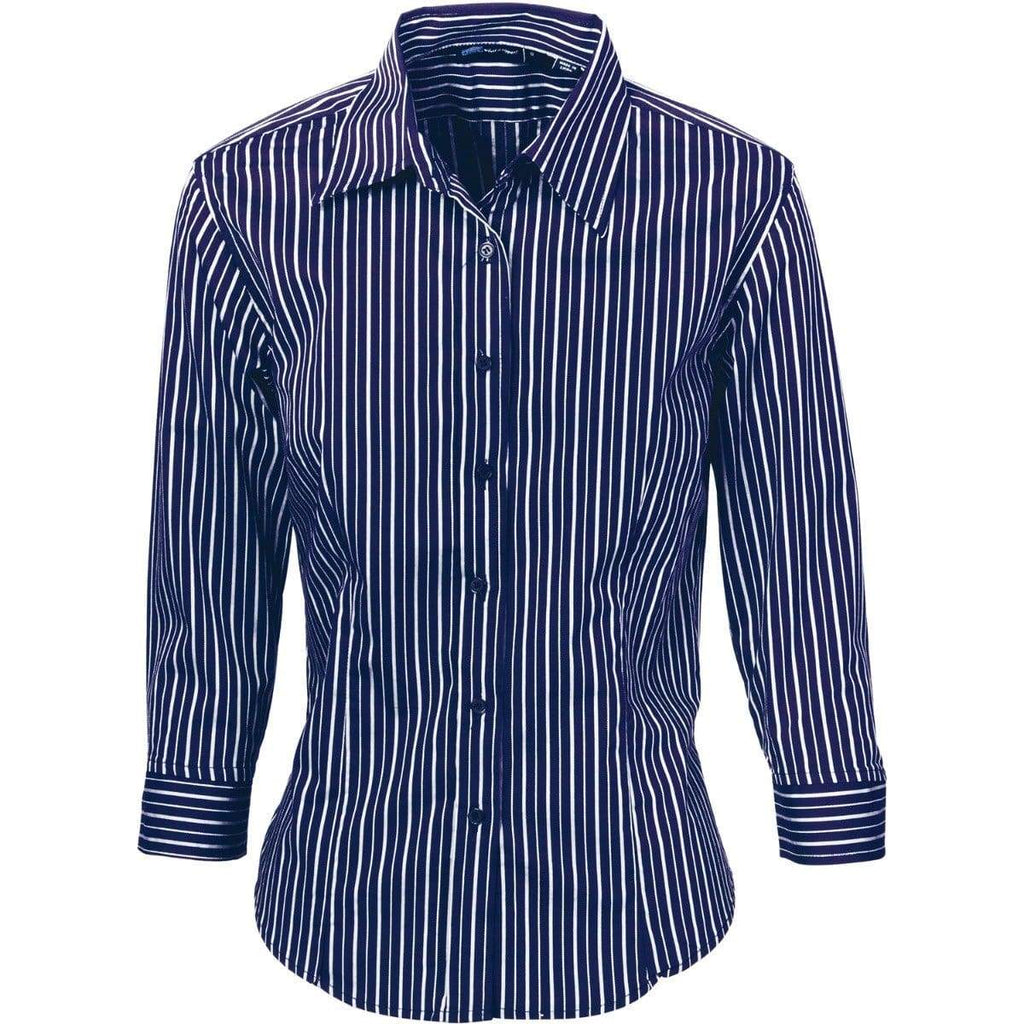 DNC Workwear Corporate Wear Navy/White / 6 DNC WORKWEAR Ladies Stretch Yarn Dyed 3/4 Sleeve Contrast Stripe Shirt 4234
