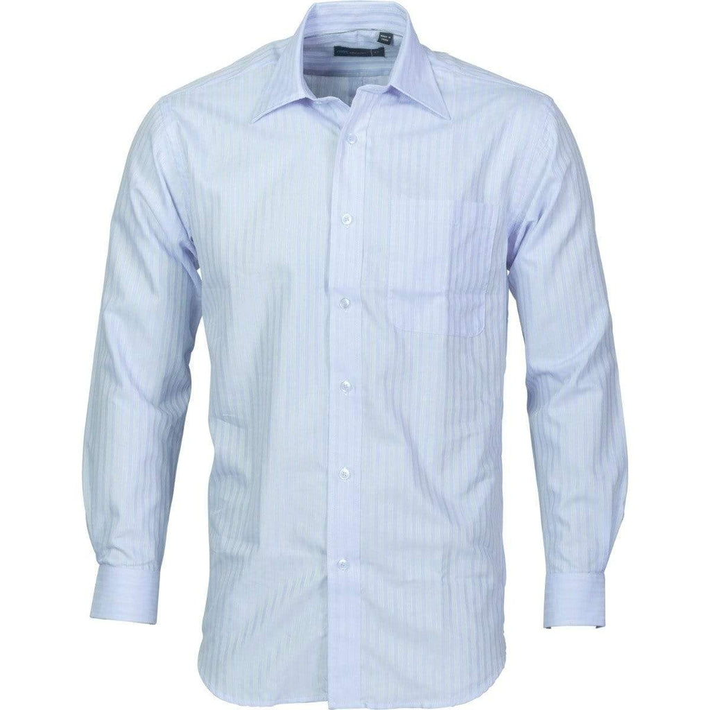 DNC Workwear Corporate Wear Light Blue / 37 DNC WORKWEAR Men's Tonal Stripe Long Sleeve Shirt 4156