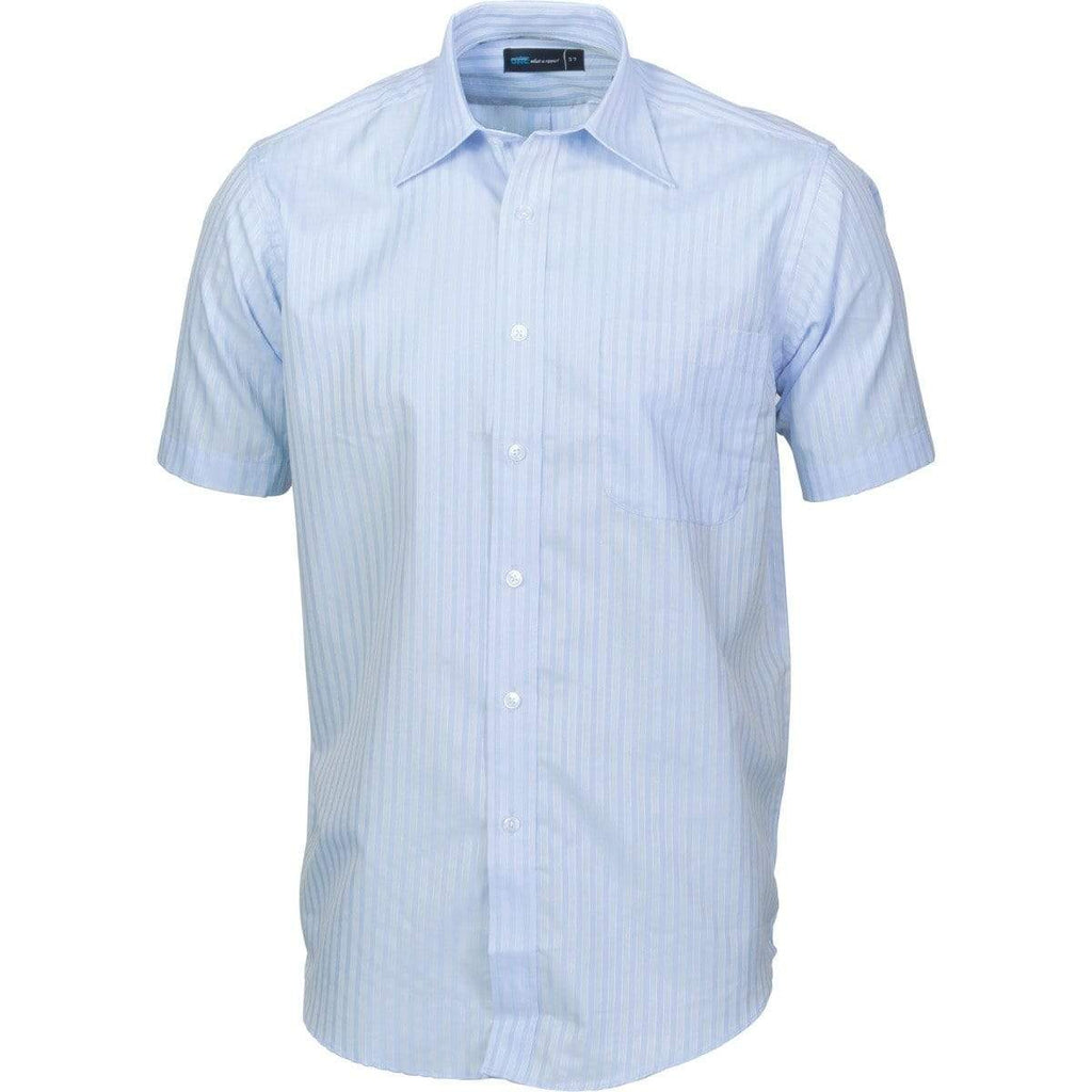 DNC Workwear Corporate Wear Light Blue / 37 DNC WORKWEAR Men's Tonal Stripe Short Sleeve Shirt 4155