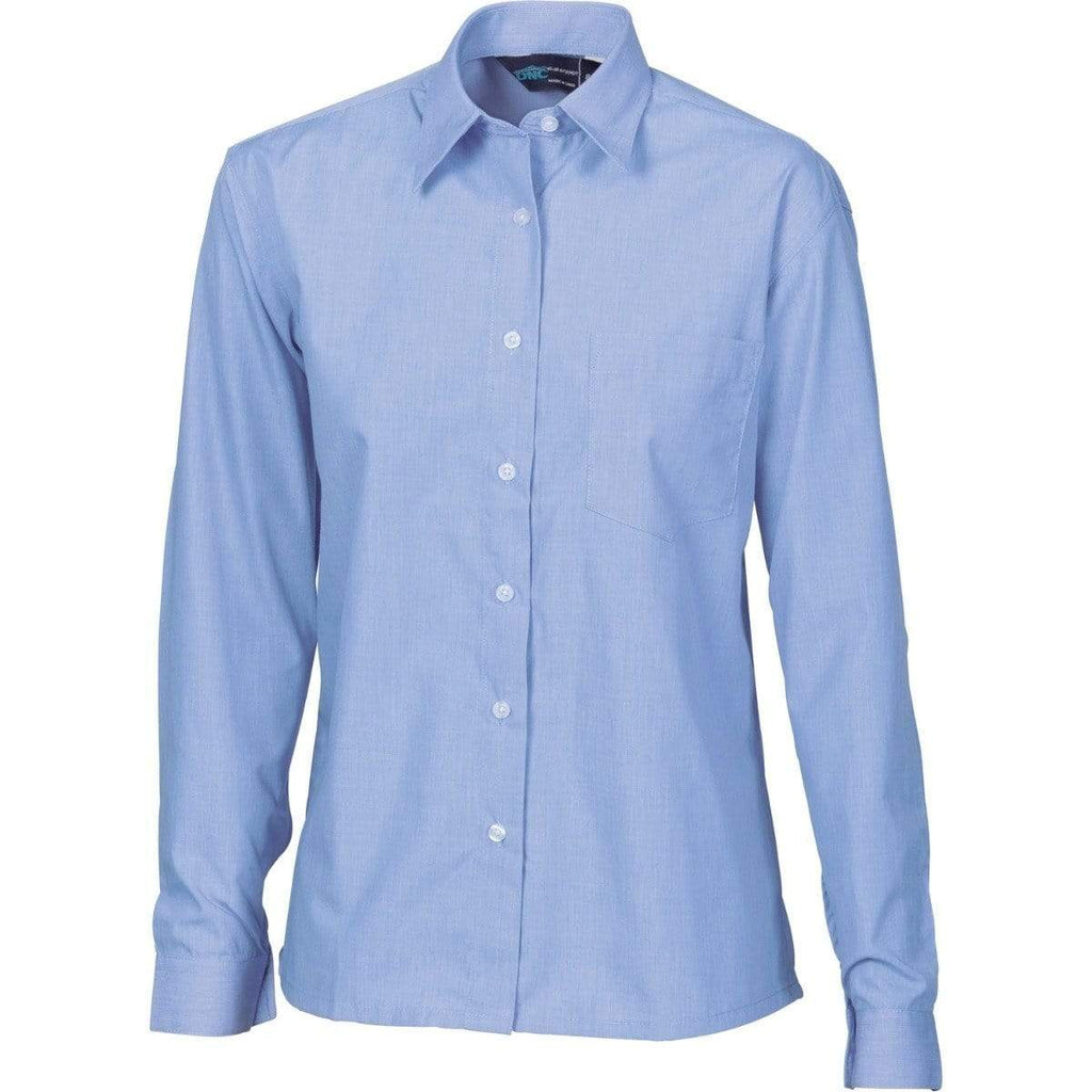 DNC Workwear Corporate Wear Blue Chambray / 6 DNC WORKWEAR Polyester Cotton Long Sleeve Business Shirt 4212