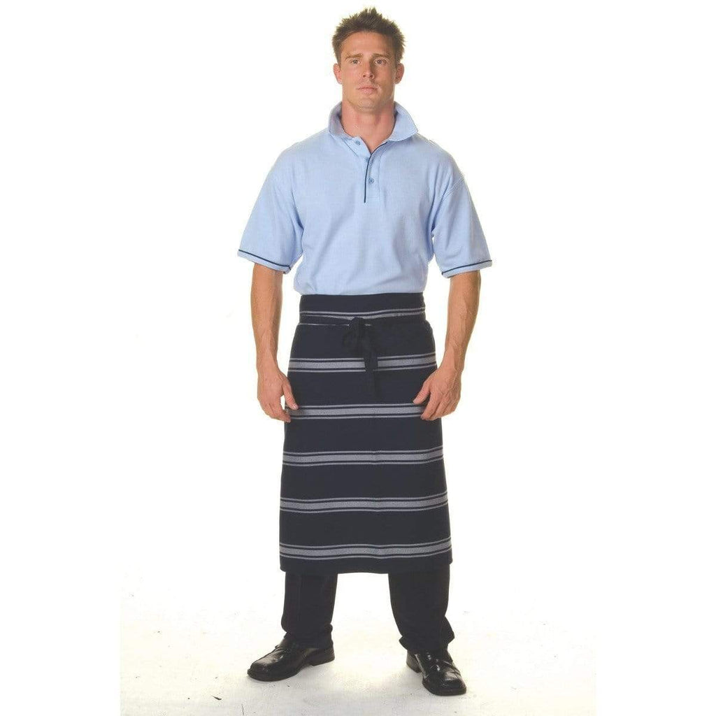 DNC Workwear Hospitality & Chefwear Blue/White / 84cm x 75cm DNC WORKWEAR Blue & White Stripe No Pocket 3/4 Apron 2332